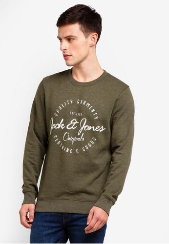 Jack & Jones 綠色 長袖印花棉T B3B21AA4646399GS_1