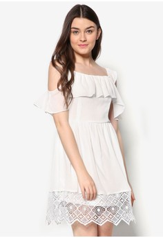 Lace Off-Shoulder Fit And Flare Dress
