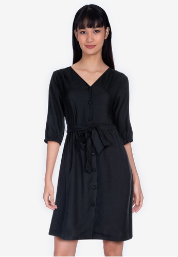 ZALORA BASICS black Puff Sleeves Knee Length Dress D99E6AA7CF500FGS_1