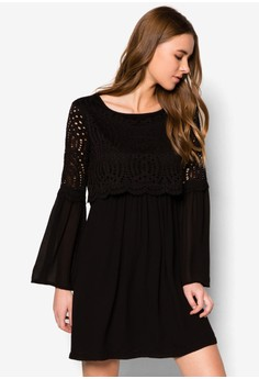Bell Sleeved Lace Overlay Dress