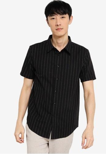 ZALORA BASICS black Short Sleeve Striped Shirt A407AAA6F40635GS_1