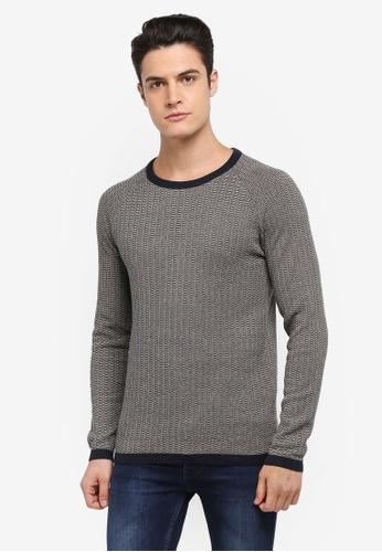 Selected Homme 藍色 雙色滾邊針織毛衣 A046FAA689287CGS_1
