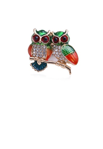 Glamorousky white Simple and Cute Green Owl Brooch with Cubic Zirconia 7D092AC68708A7GS_1
