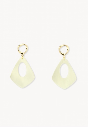 Pomelo yellow Stripe Plated Drop Earrings - Yellow 9074DAC7C32200GS_1