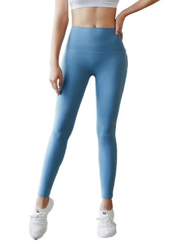 B-Code blue ZYG3034-Lady Quick Drying Running Fitness Yoga Sports Leggings -Blue 85ACFAA11521AEGS_1