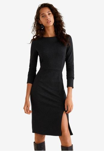 Mango grey Side Slit Knit Dress D848FAAD55DE03GS_1
