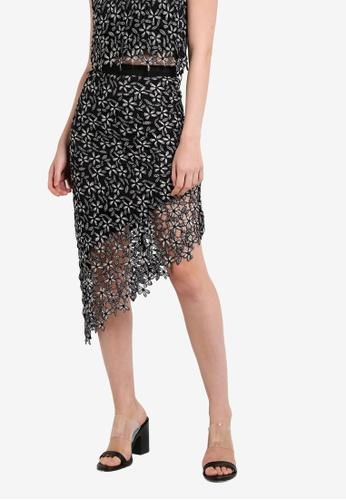 Miss Selfridge multi Monochrome Lace Asymmetric Skirt MI665AA98DDXMY_1