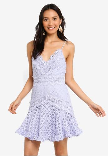 INDIKAH purple Lace Skater Dress 6298EAA2F6B4F2GS_1