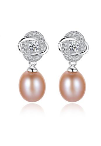 SUNRAIS silver Premium colored stone silver flower earrings E174CACFE40F9BGS_1