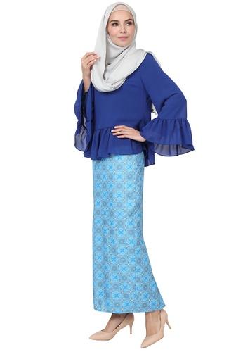 Divya Blouse & Skirt Set from POPLOOK in Blue