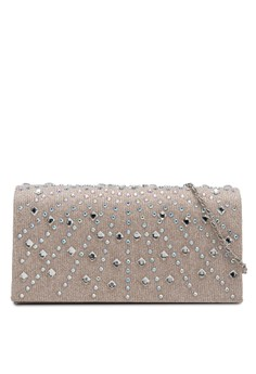 UNISA Dinner Clutch with Glittering Stones & Crystal Embellishment
