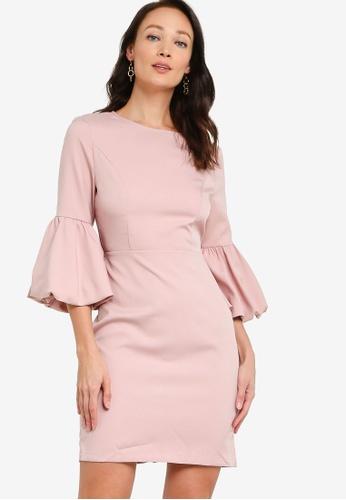 ZALORA OCCASION pink Lantern Sleeve Dress 18CCEAA41993C9GS_1