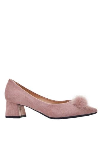 Twenty Eight Shoes 粉紅色 毛毛球粗踭鞋999-31 CA588SH72DFF73GS_1