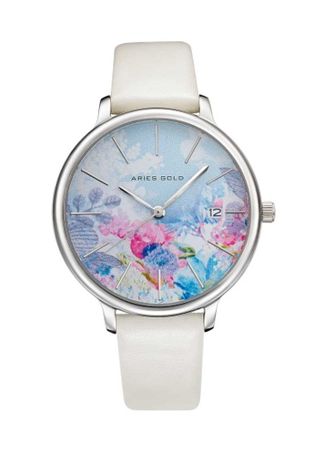 Aries Gold white Aries Gold Enchant Fleur L 5035 Silver and White Watch 1C459AC9307D3EGS_1