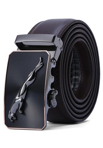 Jackbox brown Dante Premium Leather Jaguar Automatic Buckle Men's Belt 809 (Brown) A8829AC84D69B8GS_1