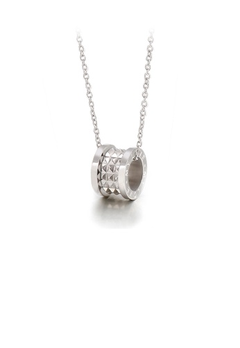 Glamorousky silver Simple and Fashion 316L Stainless Steel Roman Numeral Cylindrical Pendant with Necklace E82BFAC4229E6CGS_1