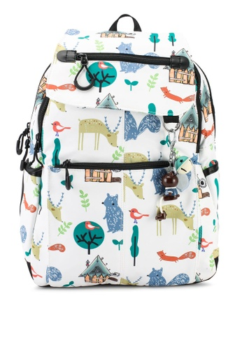 Bagstationz white Printed Nylon Backpack 5D5BAACC9A9347GS_1
