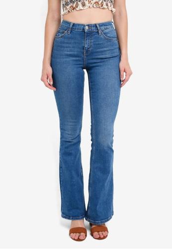 TOPSHOP blue Moto Mid Blue Flared Jamie Jeans 4DD5DAA797074FGS_1
