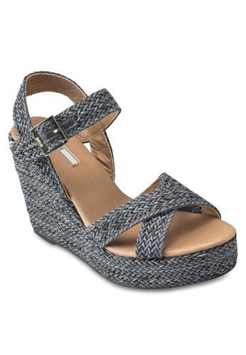 編織交叉繞踝楔形涼鞋, 女鞋,esprit 請人 鞋