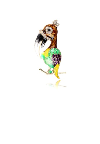 Glamorousky white Simple Personality Plated Gold Enamel Color Toucan Brooch with Cubic Zirconia C69ACAC5646797GS_1