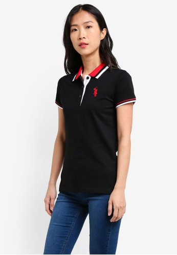 BGM POLO black Printed Polo Shirt BG646AA0S0JNMY_1