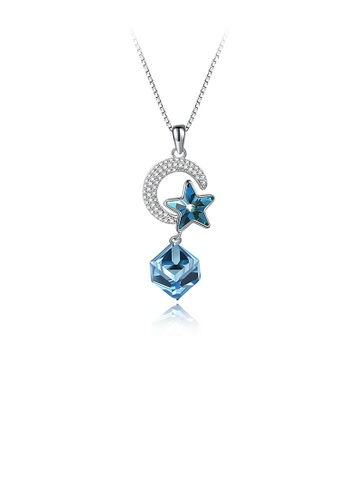 Glamorousky blue 925 Sterling Silver Elegant Star Moon Geometric Pendant with Blue Austrian Element Crystal and Necklace 0E153AC89DF4CBGS_1