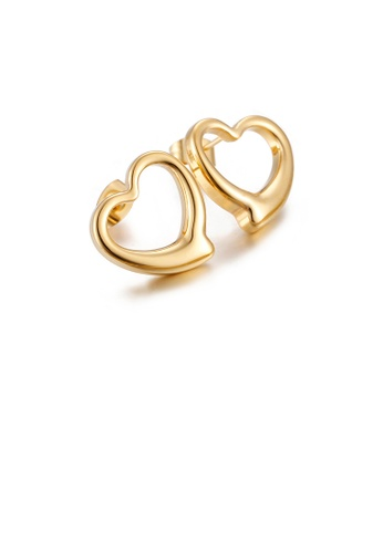 Glamorousky silver Simple and Sweet Plated Gold Hollow Heart-shaped 316L Stainless Steel Stud Earrings 68658ACC777B6DGS_1