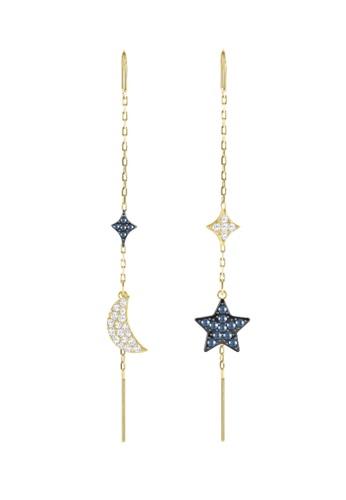Swarovski gold Duo Moon Chain Pierced Earrings EAD21ACD35316BGS_1