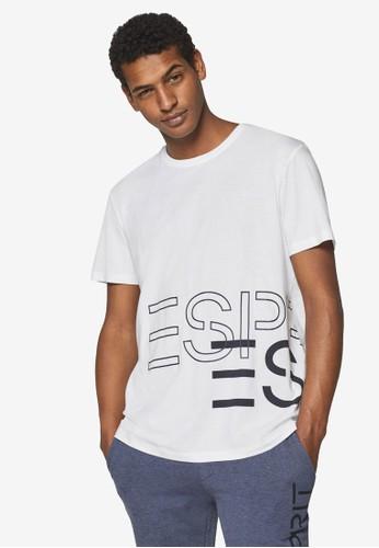 ESPRIT white Logo Print Jersey T-Shirt FBA8CAAD114C2DGS_1