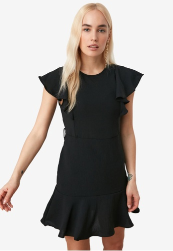 Trendyol black Belted Flutter Sleeve Dress C06A9AA596F22EGS_1