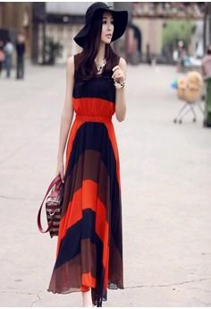Women's Elegant O-Neck Chiffon Ankle-Length Sleeveless Ball Gown Dress