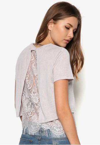 蕾絲拼zalora時尚購物網的koumi koumi接短袖上衣, 服飾, 上衣