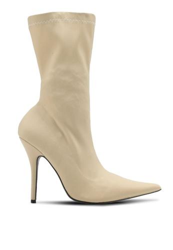 Public Desire white Danger Sock Fit Boots PU378SH0SIOQMY_1