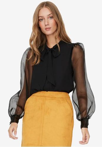 Vero Moda black Maria Long Sleeve Tie Blouse 61799AA4DB2953GS_1