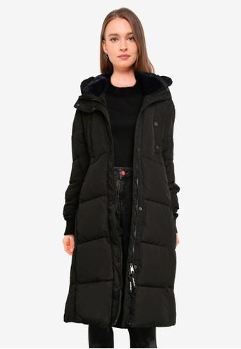 Desigual black Long Straight Padded Coat B0C58AACF7A95BGS_1