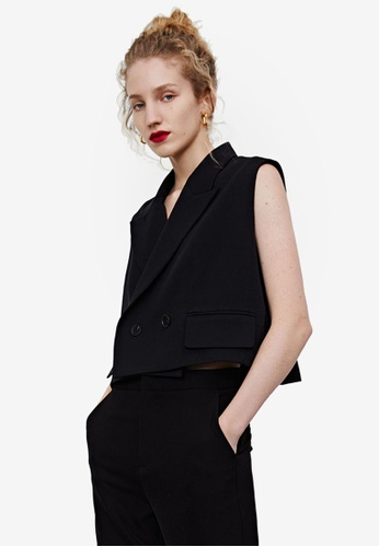 URBAN REVIVO black Oversized Vest 36E2AAA9E343A6GS_1