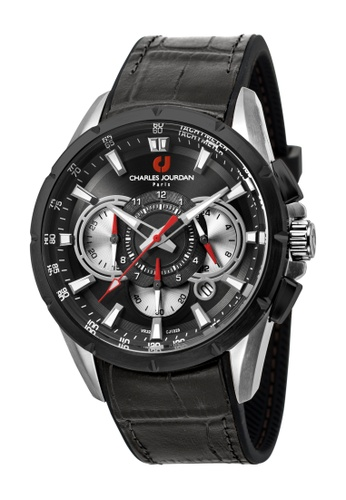 Charles Jourdan black Charles Jourdan Men CJ1029-1332C Black Silicone Leather Watch CH774AC0WAPLID_1