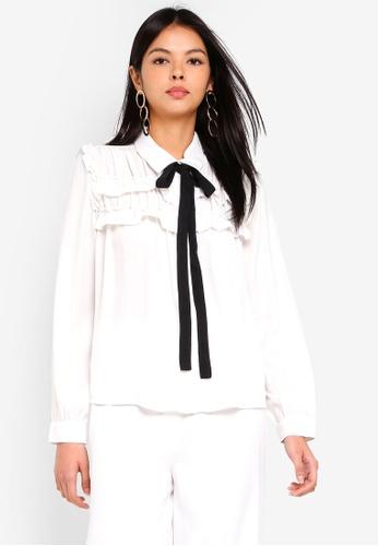 Vero Moda white Carmen Long Sleeve Shirt D0104AABC5722AGS_1