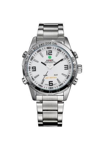 Weide white and silver Weide WH1009 Dual Time LED Stainless Steel Watch (Silver White) WE079AC26RINMY_1