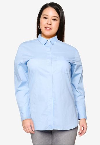 Violeta by MANGO blue Plus Size Regular Fit Cotton Shirt 5D50DAA3EB467AGS_1