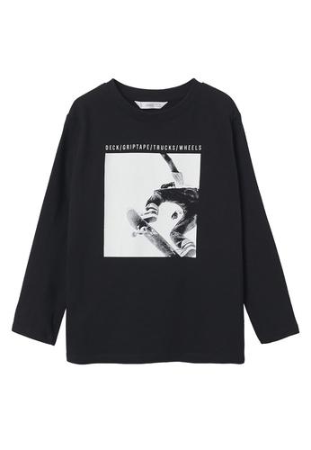 MANGO KIDS black Printed Long Sleeve T-Shirt 7EE30KA2C7AF17GS_1