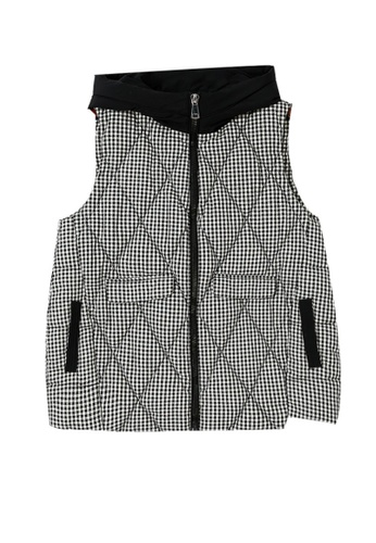 A-IN GIRLS black and white Fashionable Hooded Checkered Vest Cotton Jacket 315E1AA99A2C8EGS_1