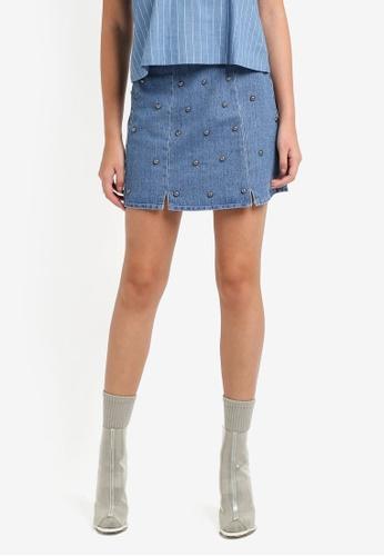 Something Borrowed blue Studded Denim Mini Skirt A7ED7ZZ04B9ED7GS_1
