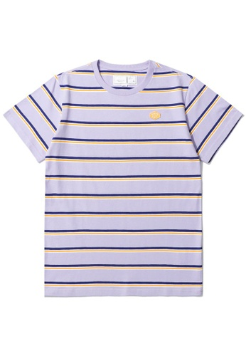 :CHOCOOLATE purple Logo stripe tee 7D8A1AA0702D2AGS_1