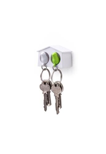 Qualy Qualy Mini Duo Sparrow Key Ring (White/White/Green) 02CAFHL7D6E217GS_1