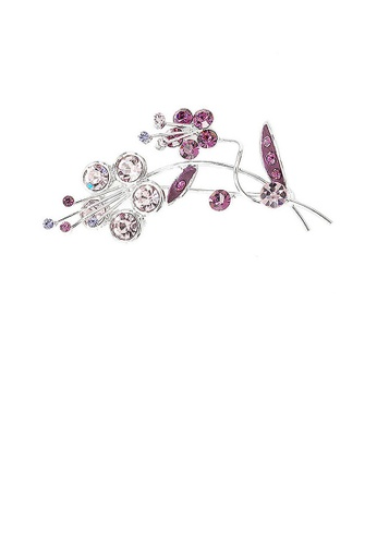 Glamorousky purple Flower and Leaves Brooch with Purple Austrian Element Crystals 048C5ACED2713FGS_1
