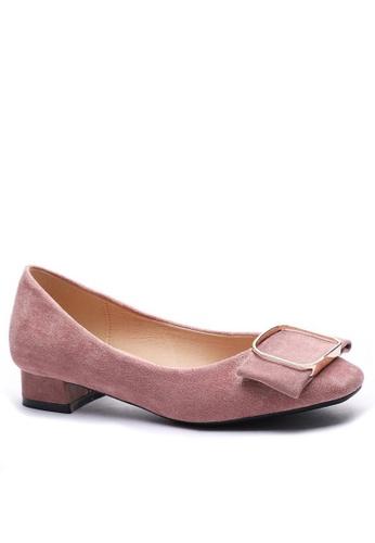 Twenty Eight Shoes 方頭方扣絨面高踭鞋1205-12 792B1SH1181BC4GS_1