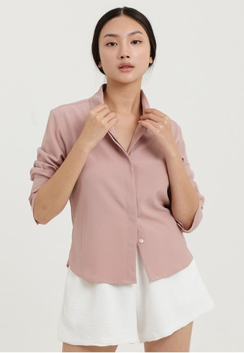 Cloth Inc pink Long Cuff Fitted Shirt in Rose E050FAAF55453DGS_1