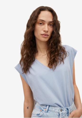 Mango blue Pleated Shoulders Cotton T-Shirt 27AA3AA9DFD05FGS_1