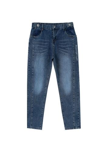Its Me blue Elastic Waist Embroidery All-Match Jeans E1F12AAAB9CD49GS_1